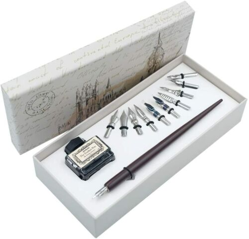 Pen Dip Wooden Calligraphy Set Nibs Ink Writing Quill Handcrafted Black-AU