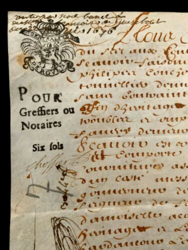 1678 OLD PARCHMENT DOCUMENT Stamped and Sealed