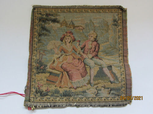 """VINTAGE FRENCH MADE SMALL TAPESTRY SQUARE 6-1/2"""" SQUARE MAN COURTING WOMAN"""