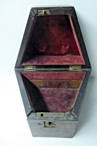 ANTIQUE WOODEN INSTRUMENT MAHOGANY BOX CARRY CASE COMPASS SEXTANT VELVET LINED