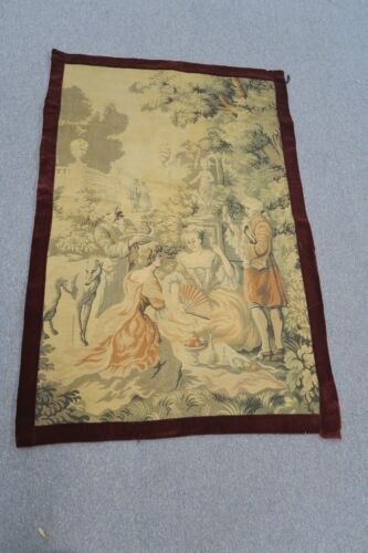 """Vintage French Jacquard Woven Tapestry Victorian Palace Garden Scene 32"""" x 50"""""""