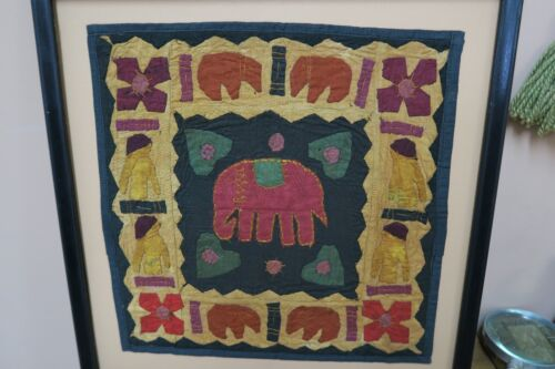Vintage Patchwork Embroidery Tapestry India Elephants Handmade