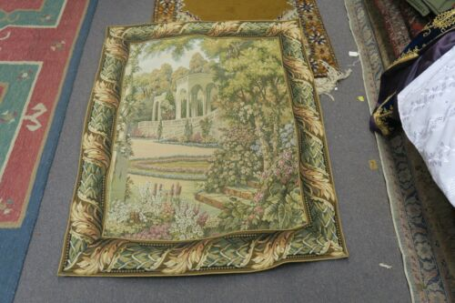 """Vintage Jacquard Woven Tapestry Victorian Palace Garden Scene 34"""" x 44"""""""