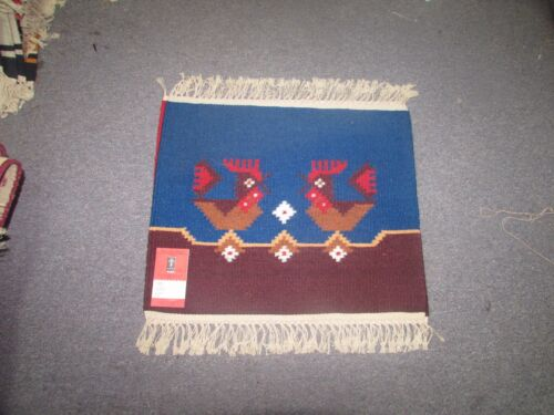 NWT NEW Russian Folk Art Kilim Hand Knotted Wool Tapestry 1'-9 x 1'-5  Rooster