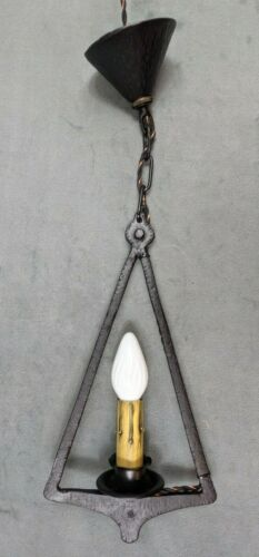 1920s Art & Crafts Ceiling Light Fixture, Cast Iron, New wire, switches, candles