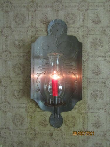 PENNSYLVANIA DUTCH PUNCHED TIN LARGE CANDLE SCONCE W/BIRD & HEART PATTERN