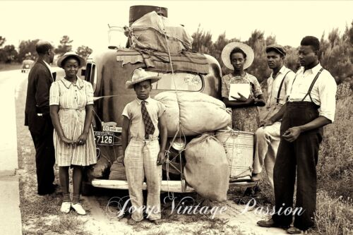 """1920's Wonderful African American Family Moving North U.S.A. 4""""x6"""" Reprint Photo"""