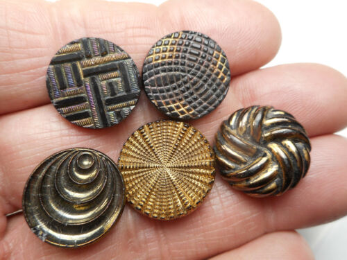 """5 Black Glass Gold Luster Antique Buttons 3/4"""" RS #9"""