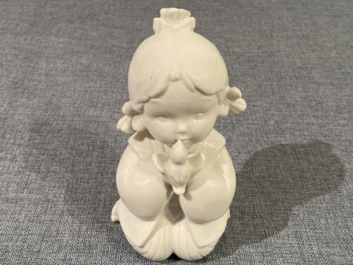 Vintage Collectable A Little Girl Kissing A Bird Decorative Figurine Ornament