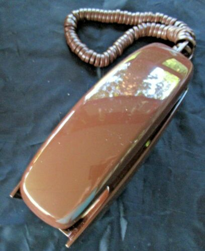 VINTAGE NOS CHOCLATE BROWN WESTERN ELECTRIC TRIMLINE PUSH BUTTON WALL PHONE