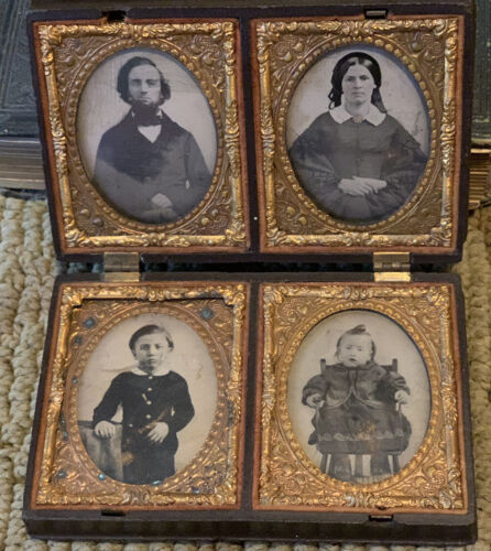 4 1/9 Plate Ambrotypes  RARE Union Case  1-49 A Family Party