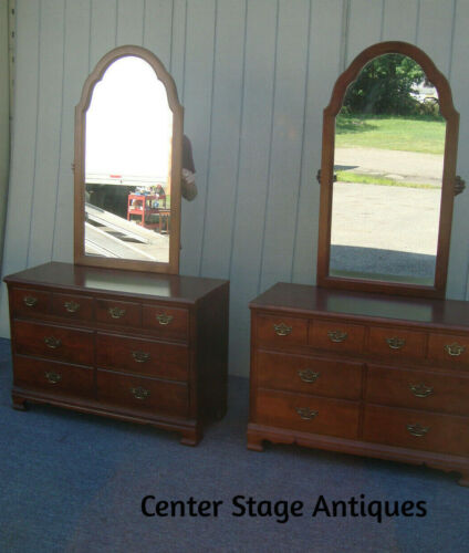 62258  PAIR  Stanley Cherry  Dressers with Mirrors