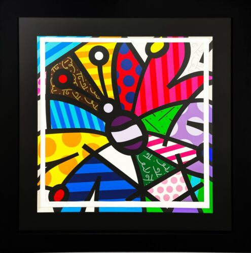 """ROMERO BRITTO """"ROTHSCHILD BUTTERFLY"""" SIGNED PRINT FRAMED W/PAINTED FILLET 49X49"""""""