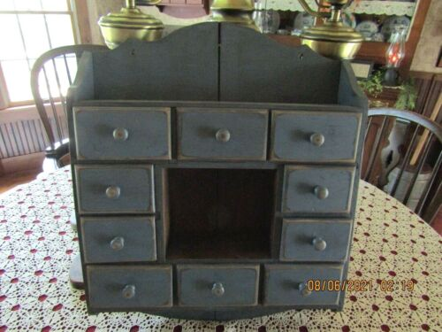 PRIMITIVE LARGE BLUE APOTHECARY -TO HANG -10 DRAWERS - MADE BY AMISH