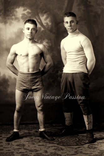 """1918 Two Young Wrestlers Muscular Handsome Gay Interest 4""""x6"""" Reprint Photo G76"""
