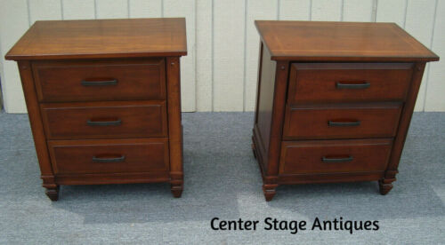 62204  Pair Inlaid Mahogany Nightstand End Table Stands