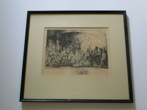 AUGUSTE BROUET ETCHING FINEST MASTERFUL SIGNED CIRCUS PORTRAIT SURREAL RARE FIND