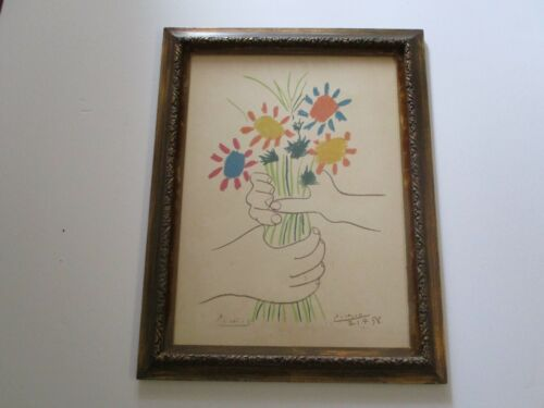 PABLO PICASSO LITHOGRAPH RARE LIMITED EDITION SIGNED BOUQUET OF PEACE MODERNISM