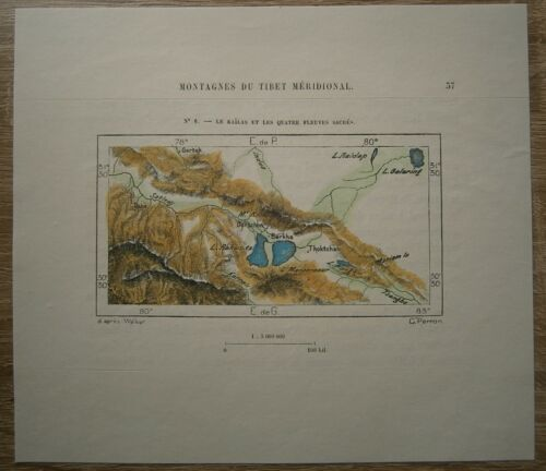 1882 Perron map  MOUNT KAILASH AND FOUR SACRED RIVERS, TIBET, CHINA (#6)