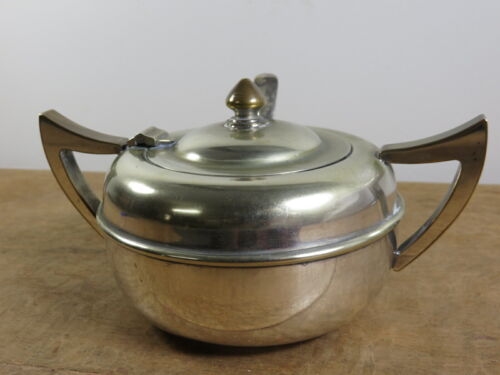 Vintage Empire Plate EPNS Silverplate Sugar Bowl and Spoon Art Deco  in VGC