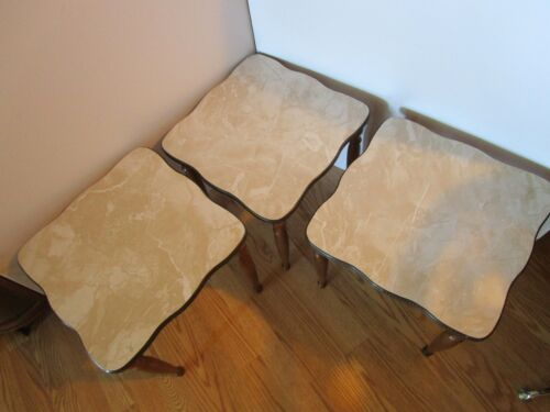 """MID CENTURY MODERN 3 Nesting STACKING END SIDE TABLES Formica 14.5"""" square Vtg"""