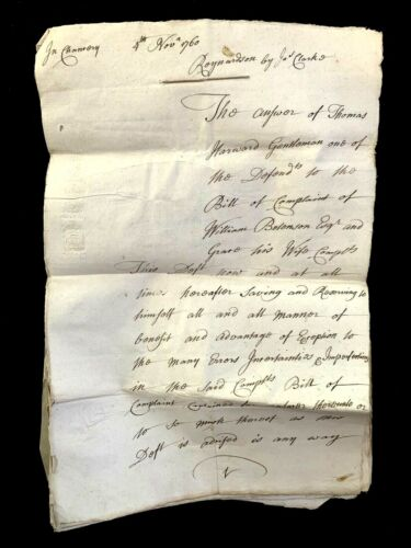 1760 VERY OLD PAPER MANUSCRIPT 36 pages - Thomas Harvard and Samuel Hilbert