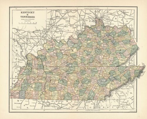 VINTAGE State Map - KENTUCKY & TENNESSEE - Ca. 1910  - 8 1/2 x 12 inches