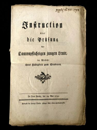 1793 INSTRUCTION ON THE EXAMINATION OF YOUNG PEOPLE - Frederick William II Act