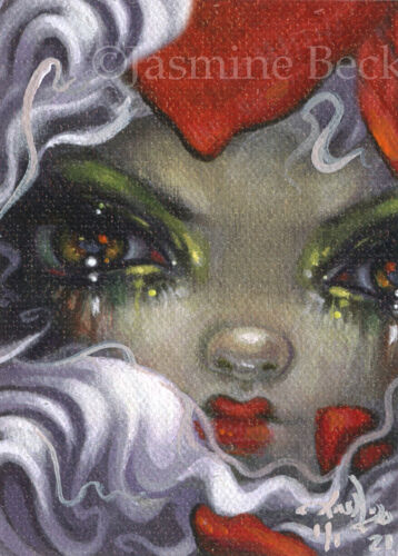 """Tiny Treasure 175 ACEO ATC Jasmine Becket-Griffith big eyes gothic red rose art <br/> by Jasmine Becket-Griffith 2.5""""x3.5"""" ACEO OOAK Card!!"""