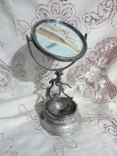 Vintage Derby Silver Plate Hammered Shaving Stand Mirror & Cup 6864 Monogramed G