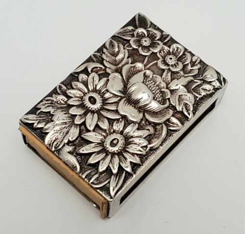 ANTIQUE S. KIRK & SON REPOUSSE AMERICAN STERLING SILVER MATCH BOOK HOLDER