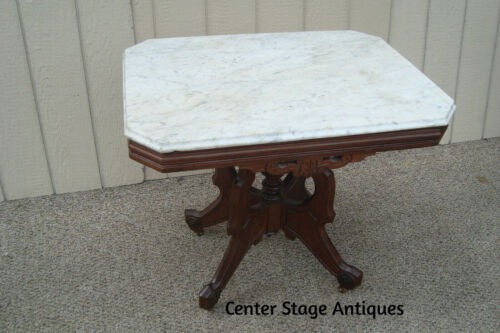 61165 Antique Walnut Victorian Marble Top Lamp Table Stand