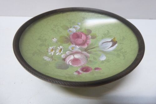 ANTIQUE FRENCH HAND PAINTED FLORAL COMPORT BOWL GLASS LINED BOWL