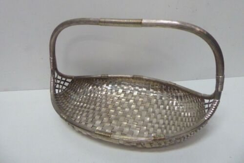 ARTS & CRAFTS SILVER PLATED WMF WOVEN BASKET GERMANY