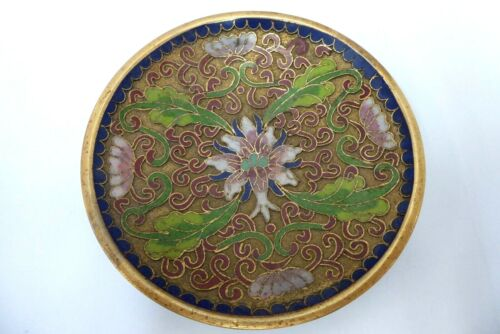 OLD CLOISONNE ENAMEL ON BRASS DISH BOWL JAPANESE CHINESE EASTERN FLORAL FLOWERS