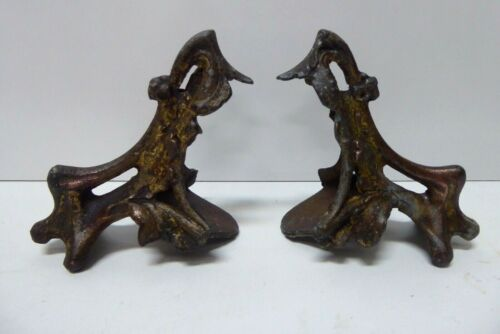 PAIR CAST IRON CLAW FOOT LEGS FOR ANTIQUE CABINET / CLOCK FRENCH ORMOLU HARDWARE