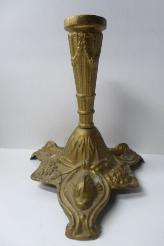 ORNATE CAST ITALIAN ANTIQUE BRASS CANDLESTICK DOLPHIN FISH DECORATED  BASE