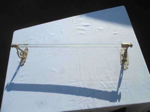 """Antique  24"""" Clear Glass (?) Towel Rod Bar With Ornate Brass Ends Nice No Res"""