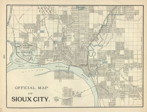 VINTAGE CITY STREET MAP - 2 Sided: SIOUX CITY / COUNCIL BLUFFS (Iowa)  CRAM 1897
