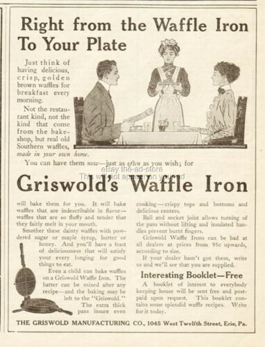1910 Griswold Manufacturing Co Erie PA Cast Iron Waffle Iron Kitchen Décor Ad
