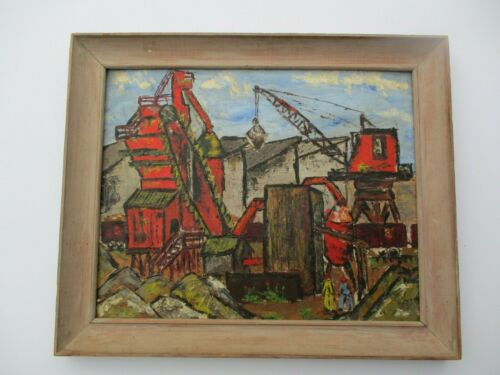 VINTAGE REGIONALISM PAINTING WPA STYLE OLD CONSTRUCTION FACTORY IMPRESSIONIST