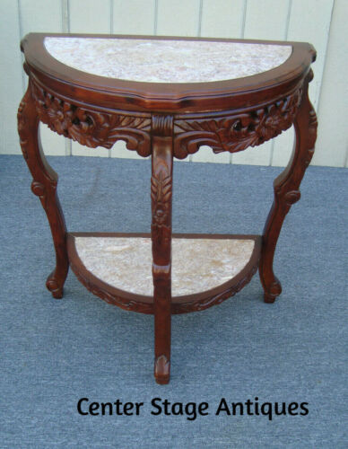 62181 Mahogany Marble Top Console Hall Table Stand