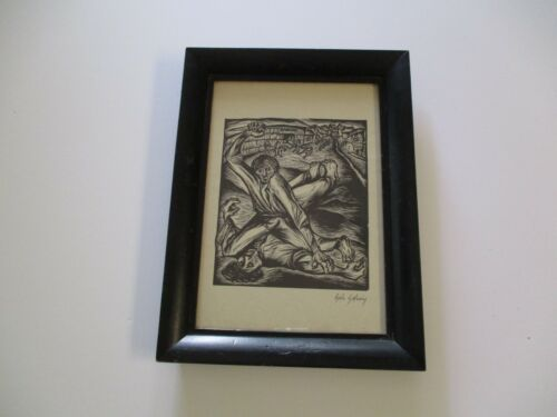 GALO GALECIO WOODCUT PUPIL OF DIEGO RIVERA MUSUEM COLLECTED SIGNED WPA STYLE