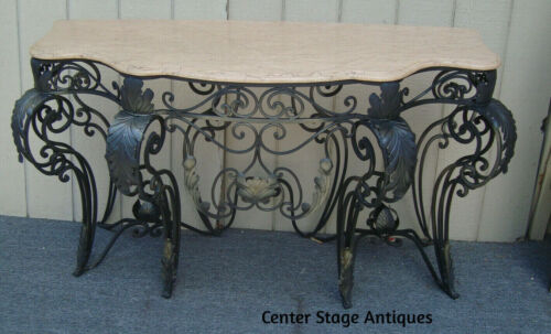 62145   Marble Top Console  Cabinet  Sideboard Server Chest