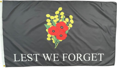 Lest We Forget Flag  4 Diggers Remembrance Poppy Flag