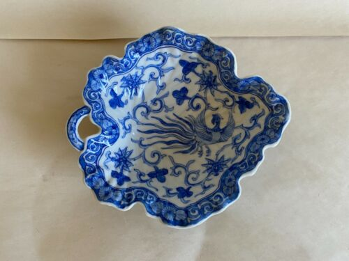 VINTAGE TO OLDER CHINESE BLUE WHITE SMALL LEAF SHAPE BOWL PHOENIX FLOWERS