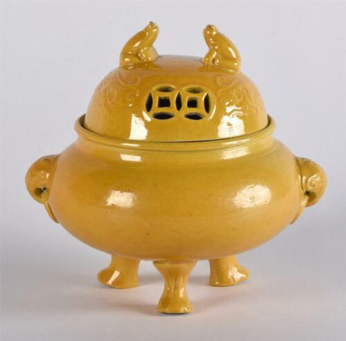 RARE Antique Chinese Porcelain Imperial Yellow Lidded Censer Qianlong Mark