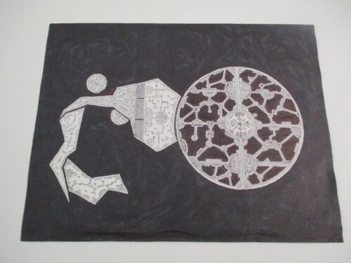 MYSTERY VINTAGE CONTEMPORARY SPACE ATOMIC MODERNIST DRAWING ALIEN CUBIST RETRO