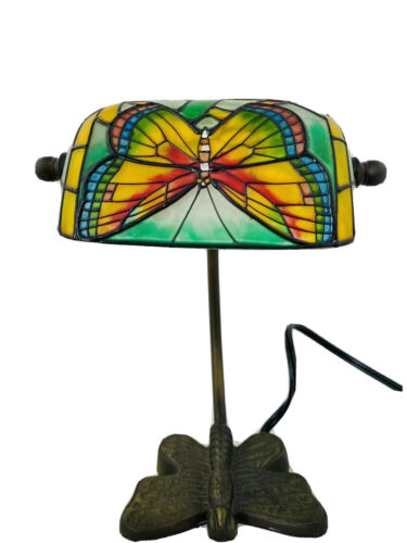 """Tiffany Style Butterfly Lamp Desk Table Glass Metal Victorian Banker 10"""" VINTAGE"""