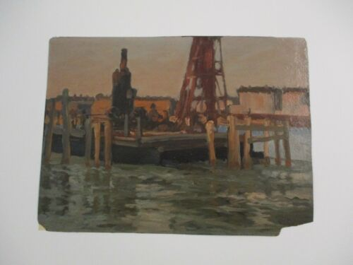 ANTIQUE MASTERFUL OIL PAINTING IMPRESSIONISM INDUSTRIAL WPA ERA MYSTERY SIGNED